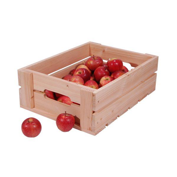 Æblekasse af lærketræ med æbler